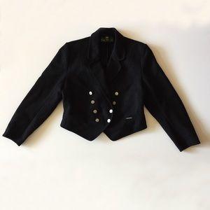 Vintage German Black Wool Coat Jacket Size XL